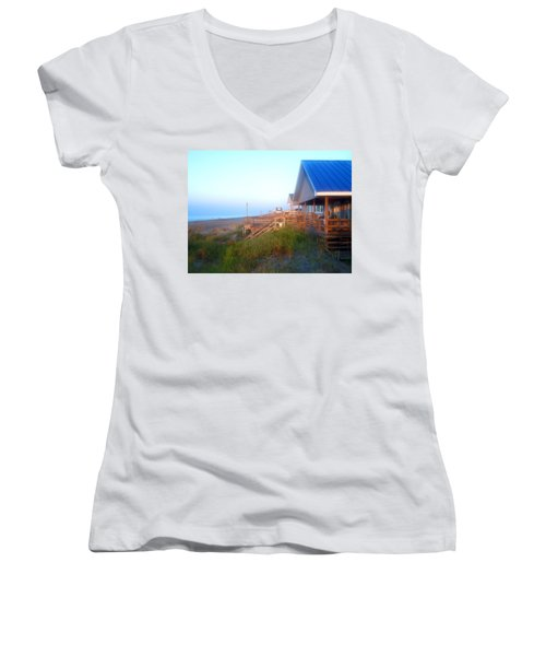 Women's V-Neck T-Shirt (Junior Cut) featuring the photograph Outerbanks Sunrise At The Beach by Sandi OReilly