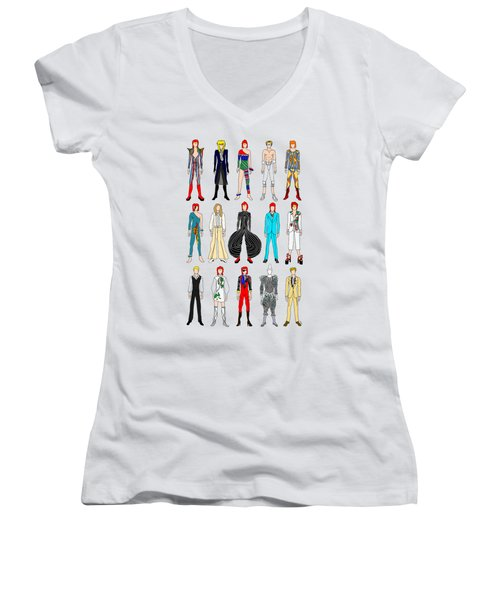 Outfits Of Bowie Women's V-Neck T-Shirt (Junior Cut) by Notsniw Art