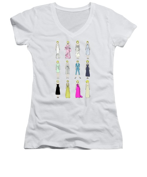 Outfits Of Marilyn Fashion Women's V-Neck T-Shirt (Junior Cut) by Notsniw Art