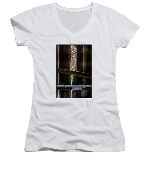 Women's V-Neck T-Shirt (Junior Cut) featuring the photograph Outside by R Thomas Berner