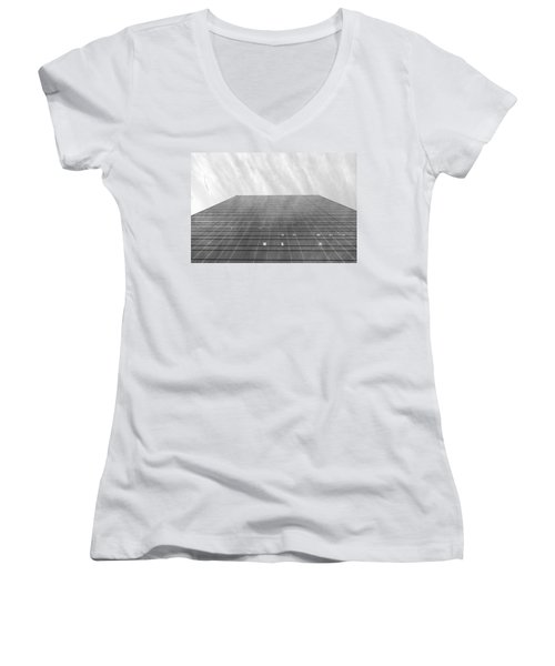 Women's V-Neck T-Shirt (Junior Cut) featuring the photograph Over The City by Valentino Visentini