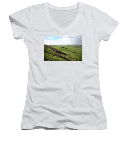 Over The Rim On Terceira Island, The Azores Women's V-Neck T-Shirt (Junior Cut) by Kelly Hazel