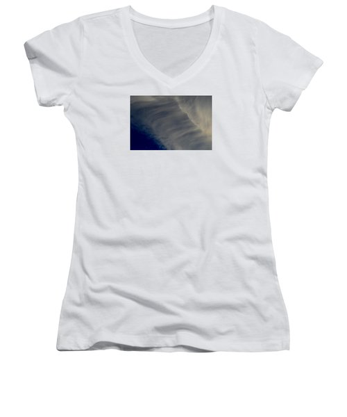 Women's V-Neck T-Shirt (Junior Cut) featuring the photograph Overhead Cirrus  by Lyle Crump
