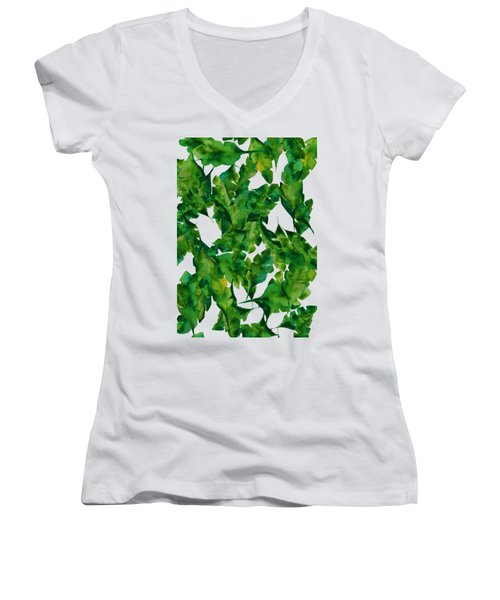 Overlapping Leaves Women's V-Neck T-Shirt (Junior Cut) by Cortney Herron