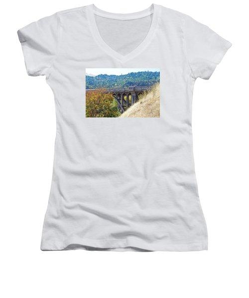 Overpass Underpinnings Women's V-Neck T-Shirt (Junior Cut) by Adria Trail