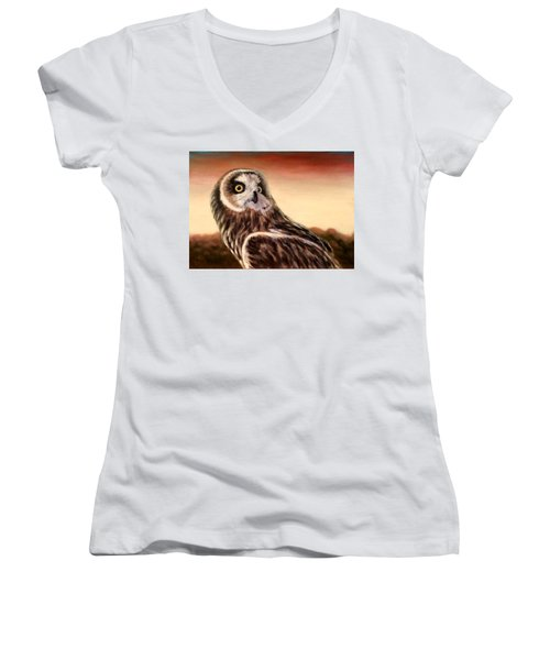 Owl At Sunset Women's V-Neck (Athletic Fit)