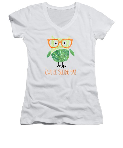 Owl Be Seeing Ya Women's V-Neck (Athletic Fit)