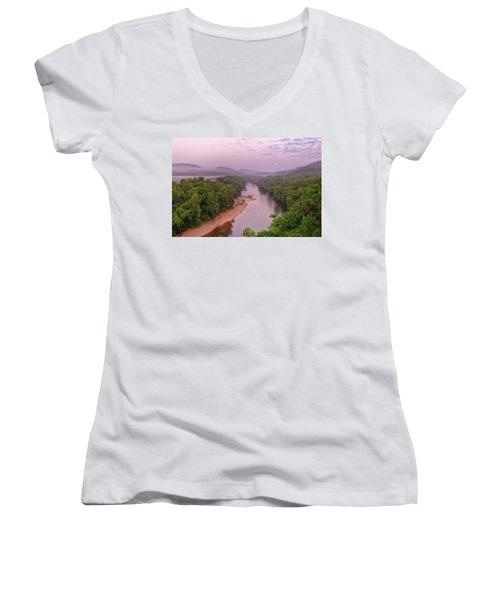 Owl's Bend Women's V-Neck T-Shirt (Junior Cut) by Robert Charity