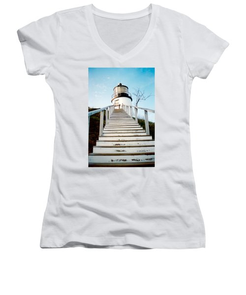 Owl's Head Light Women's V-Neck T-Shirt (Junior Cut) by Greg Fortier