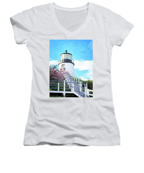 Owl's Head Light In Early June Women's V-Neck