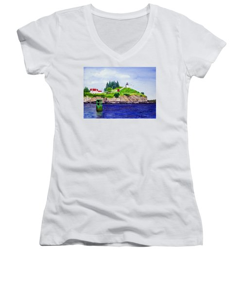 Owls Head Lighthouse Women's V-Neck T-Shirt (Junior Cut) by Mike Robles