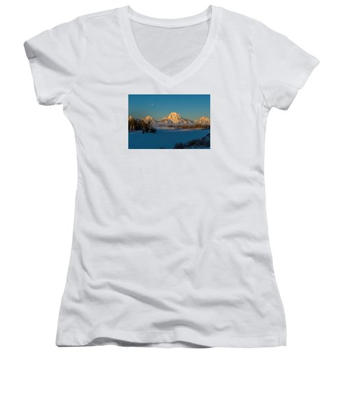Oxbow Bend In Late Winter Women's V-Neck T-Shirt (Junior Cut) by Yeates Photography