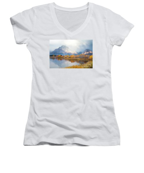 Oxbow Bend Turnout, Grand Teton National Park Women's V-Neck (Athletic Fit)