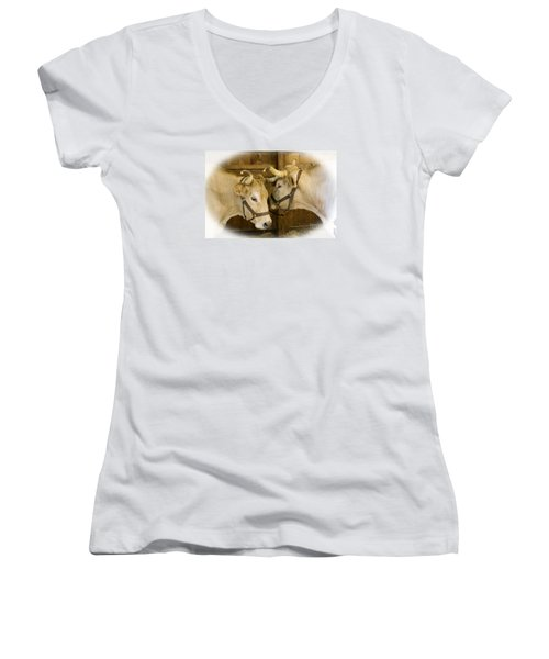Oxen Team Women's V-Neck T-Shirt (Junior Cut) by Kevin Fortier