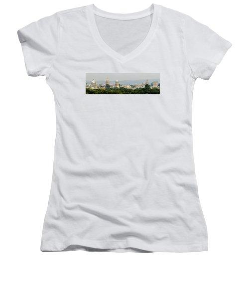 Oxford Spires Panoramic Women's V-Neck T-Shirt (Junior Cut) by Ken Brannen