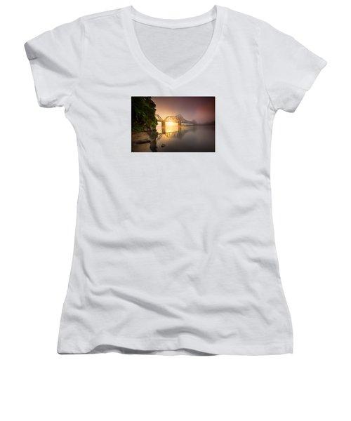 P And Le Ohio River Railroad Bridge Women's V-Neck T-Shirt (Junior Cut) by Emmanuel Panagiotakis