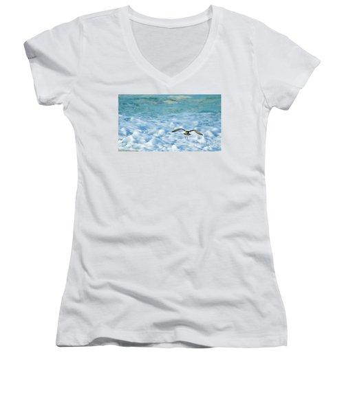 Pacific Golden Plover Flying Women's V-Neck T-Shirt