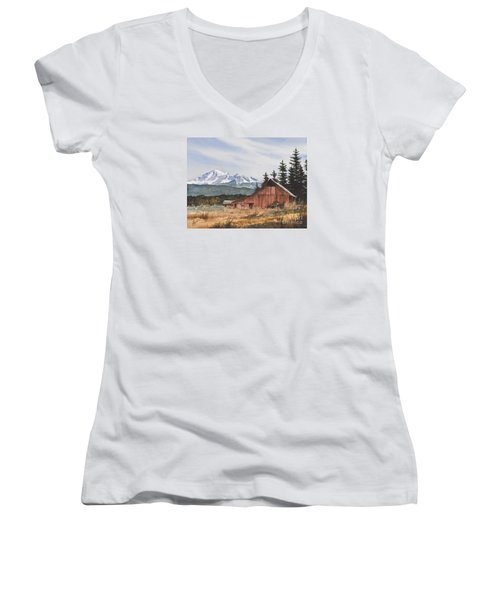 Pacific Northwest Landscape Women's V-Neck T-Shirt (Junior Cut) by James Williamson