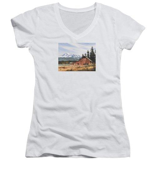 Pacific Northwest Landscape Women's V-Neck T-Shirt