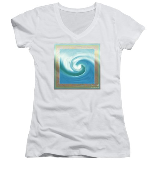 Pacific Swirl With Border Women's V-Neck