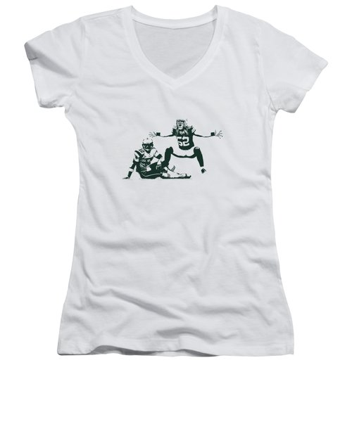 Packers Clay Matthews Sack Women's V-Neck (Athletic Fit)