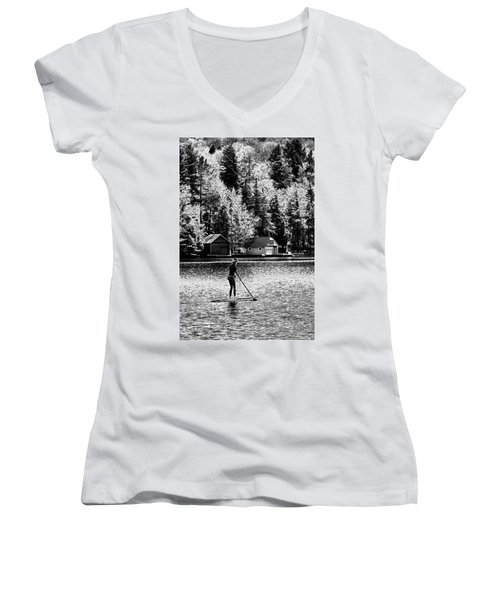 Paddleboarding On Old Forge Pond Women's V-Neck