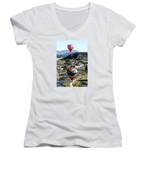Women's V-Neck T-Shirt (Junior Cut) featuring the photograph Pagosa Springs Colorfest 2015 by Kevin Munro
