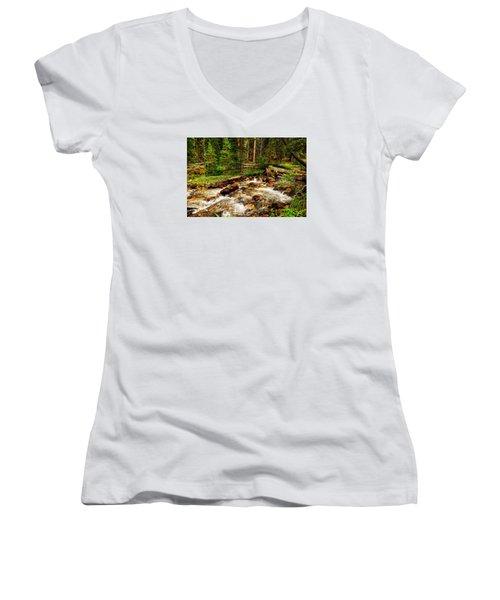 Pahsimeroi Cascades Women's V-Neck T-Shirt (Junior Cut) by Greg Norrell