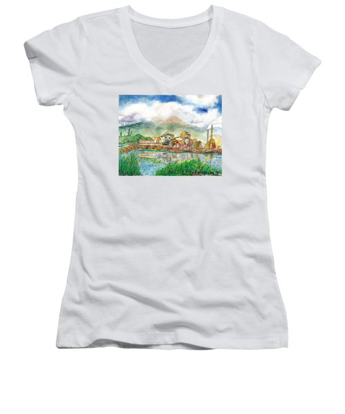 Women's V-Neck T-Shirt (Junior Cut) featuring the painting Paia Mill 1 by Eric Samuelson