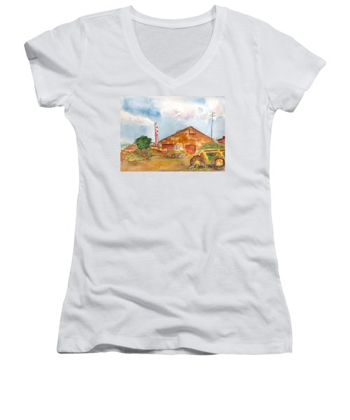 Women's V-Neck T-Shirt (Junior Cut) featuring the painting Paia Mill 3 by Eric Samuelson