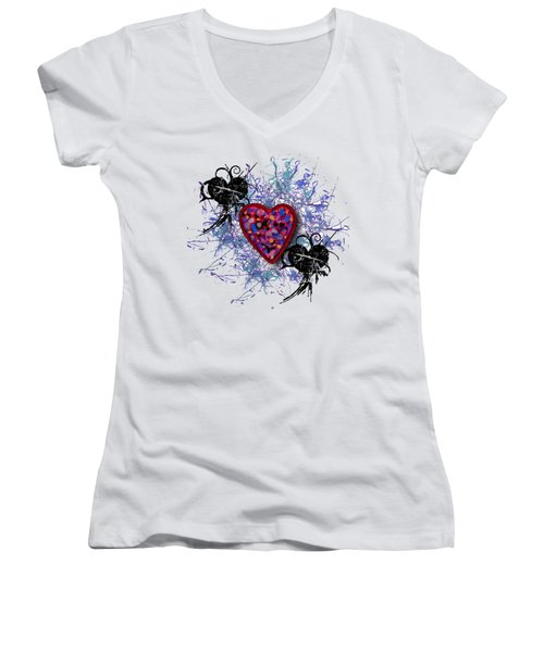 Painted Heart 3 Women's V-Neck T-Shirt (Junior Cut) by Christine Perry