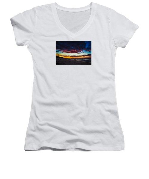 Painted Sky Women's V-Neck T-Shirt (Junior Cut) by Peter Scott
