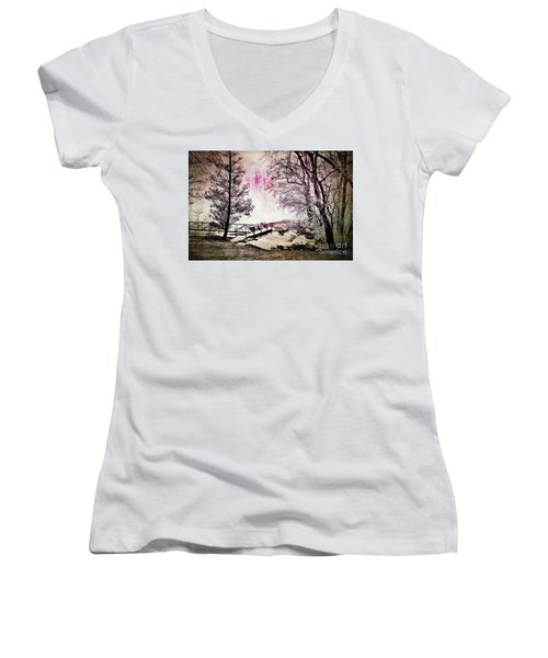 Painted Trees Women's V-Neck T-Shirt (Junior Cut) by Judy Wolinsky