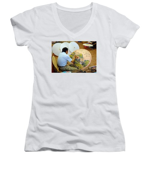 Women's V-Neck T-Shirt (Junior Cut) featuring the photograph Painting Chinese Oil-paper Umbrellas by Yali Shi