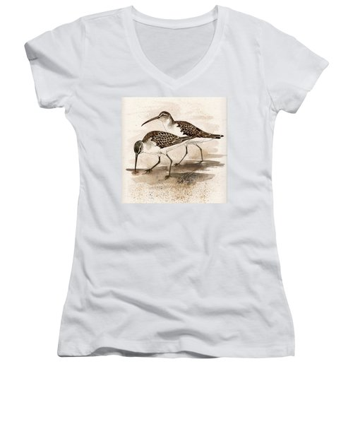 Pair Of Sandpipers Women's V-Neck (Athletic Fit)