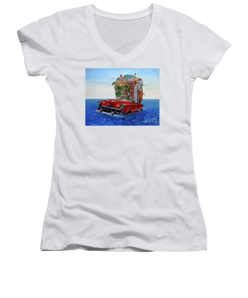 Paisaje Pasado Por Agua Women's V-Neck T-Shirt (Junior Cut) by Jorge L Martinez Camilleri