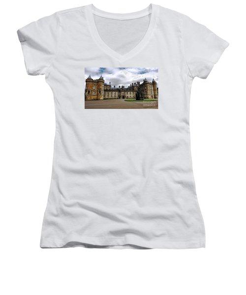 Palace Of Holyroodhouse  Women's V-Neck T-Shirt (Junior Cut) by Judy Palkimas