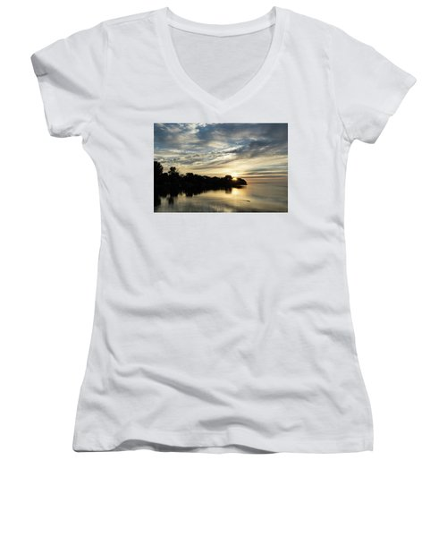 Pale Gold Sunrays - A Cloudy Sunrise With Two Ducks Women's V-Neck