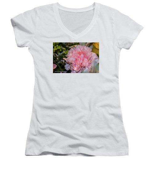 Pale Pink Carnation Women's V-Neck T-Shirt (Junior Cut) by Nance Larson
