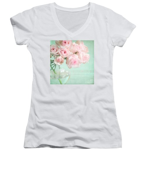 Pale Pink Roses Women's V-Neck T-Shirt (Junior Cut) by Lyn Randle