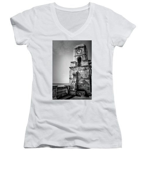 Palm Beach Clock Tower In Black And White Women's V-Neck