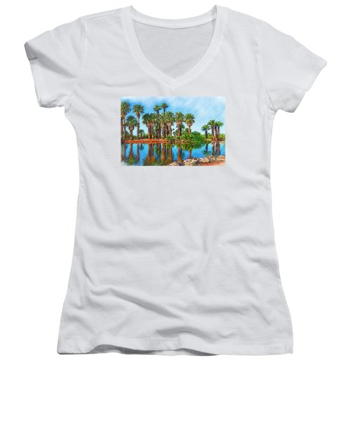Palm Reflections Sketched Women's V-Neck (Athletic Fit)