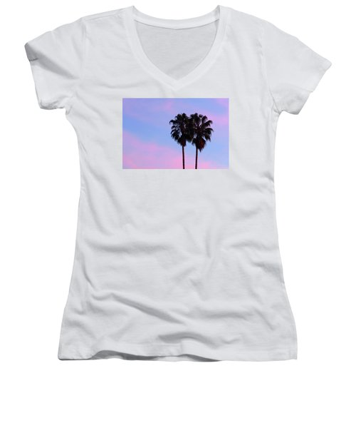 Palm Trees Silhouette At Sunset Women's V-Neck (Athletic Fit)