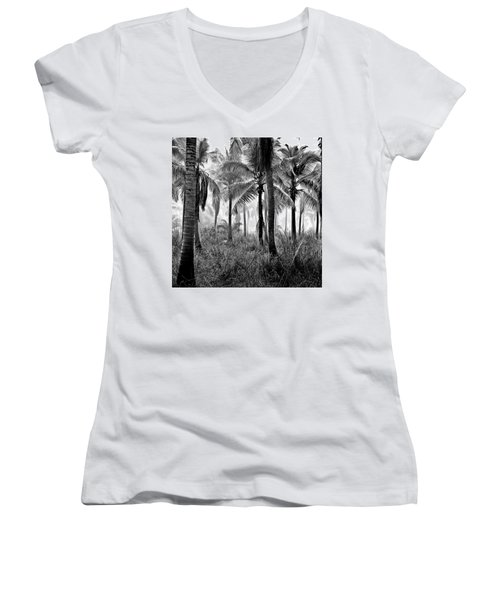 Palm Trees - Black And White Women's V-Neck