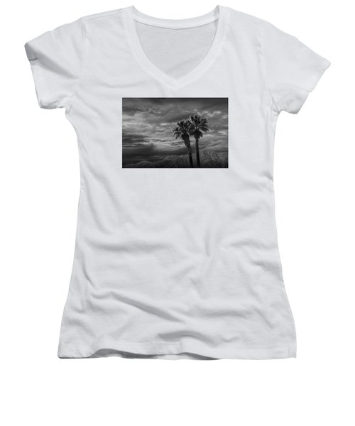 Women's V-Neck T-Shirt (Junior Cut) featuring the photograph Palm Trees By Borrego Springs In Black And White by Randall Nyhof
