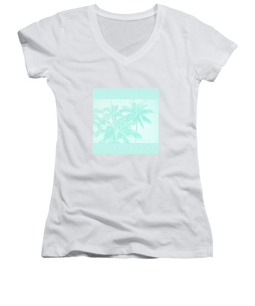 Palm Trees Hawaii Tropical Cyan Women's V-Neck T-Shirt