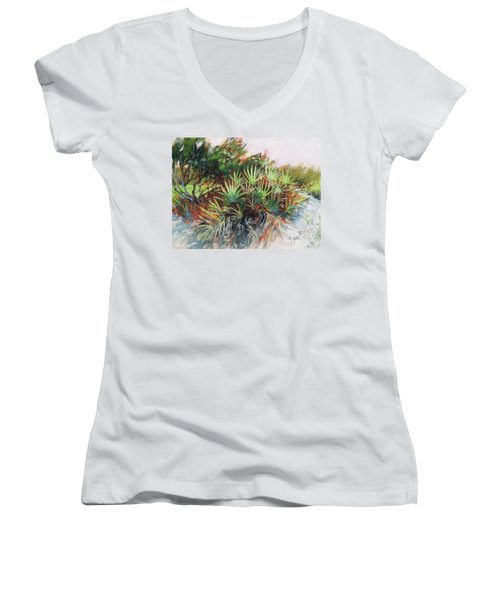 Palmetto Dance Women's V-Neck T-Shirt (Junior Cut) by Mary Hubley
