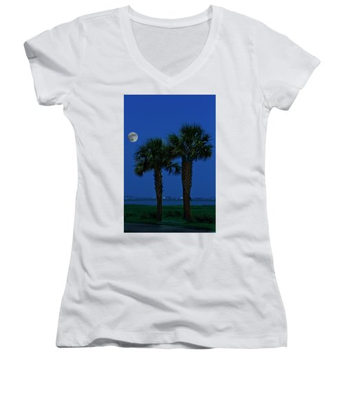 Palms And Moon At Morse Park Women's V-Neck T-Shirt (Junior Cut) by Bill Barber