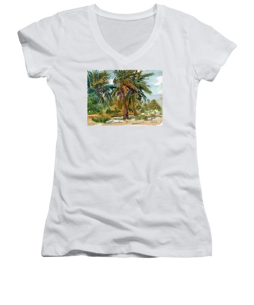 Palms In Key West Women's V-Neck T-Shirt (Junior Cut) by Donald Maier