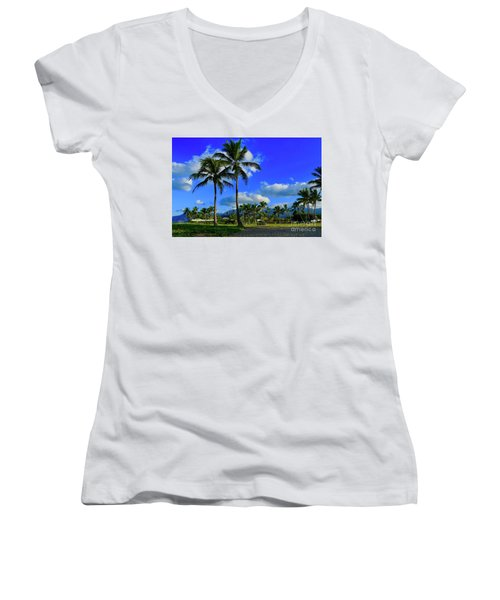 Palms In The Morning Women's V-Neck (Athletic Fit)
